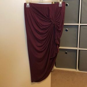 Tie-front high low bodycon skirt- M
